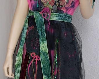 "Wonderful Fairy dress ""Sarah"" , Fuchsia and black, art to wear, Unique, feminine"