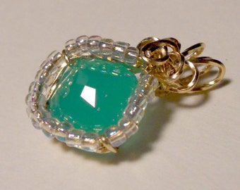 Chrysoprase Surrounded by AB Seed Beads