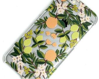Citrus Orange Lemon Fruit Flower, iPhone Case, Transparent, Clear Phone Case, iPhone 6 case, iphone SE Case, iPhone 5 Case, iPhone 7 case