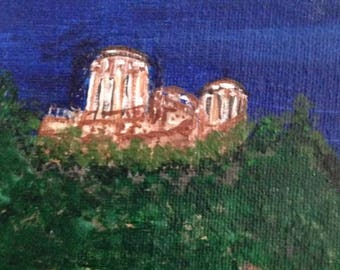 """6Landscape painting.""""Fortress.""""Style art naive."""