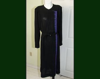 Vintage 1940's Woman's Black Crepe Dress with Purple Zig Zag Graphic