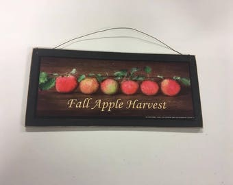 Fall Apple Harvest kitchen country Wooden Wall Art Sign farm fruit decor