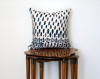 Graphic Boho Tribal Print Pillow Cover, in Beige + Navy