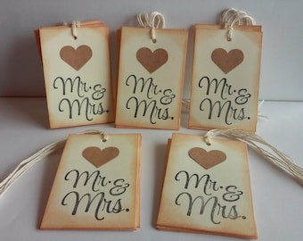 Wedding Favor Tags, Weddings tags, Mr. & Mrs. Tags, Favor Tags, Wedding Gift Tags, Set of 25