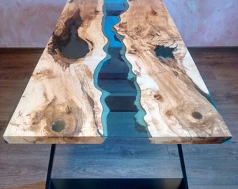 """SOLD Live edge river table """"Blue Valley"""" with blue epoxy resin SOLD"""