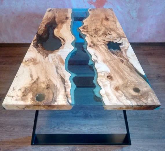 Cast Wood Art : Sold live edge river table blue valley with