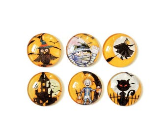 Halloween Magnets + Tin / Fridge Magnets / Glass Magnets / Refrigerator Magnets / Halloween Decor / Office Decor / Halloween Gift Idea
