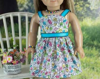 SUNDRESS Dress in Yellow Pink Orange Geometric Print with Belt JEWELRY and SANDALS Option for American Girl or 18 inch Doll