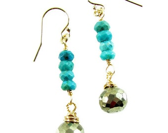 Pyrite & Natural Turquoise Dangle Earrings, Turquoise Earrings, Pyrite Earrings, Drop Earrings, Gemstone Jewelry