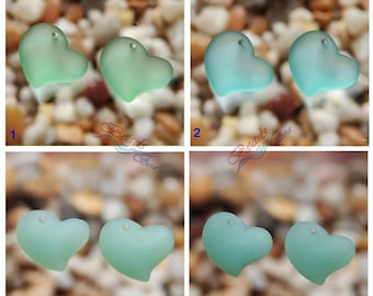 Sea Glass Heart Blue SM  2pcs (18mm) Heart Puffed Cultured Sea Glass Beads~Jewelry Making Beads~Beach Glass Pendant Beads~ More Colors