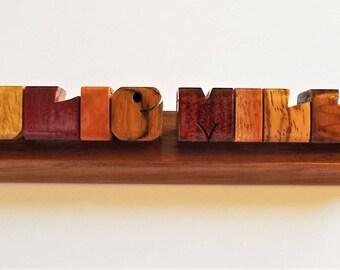 Desk Name, Exotic Wood Sampler on Walnut Base, Carved to Order