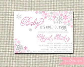 Winter baby shower invitations a little snowflake is on the baby shower invitation snowflake baby shower invitation winter baby shower invitation baby girl filmwisefo