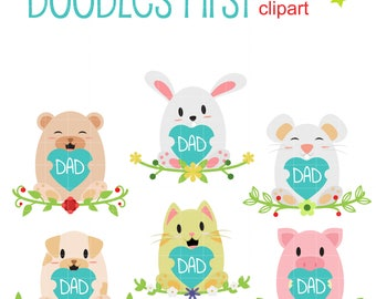 Dad's Day Animals Digital Clip Art for Scrapbooking Card Making Cupcake Toppers Paper Crafts