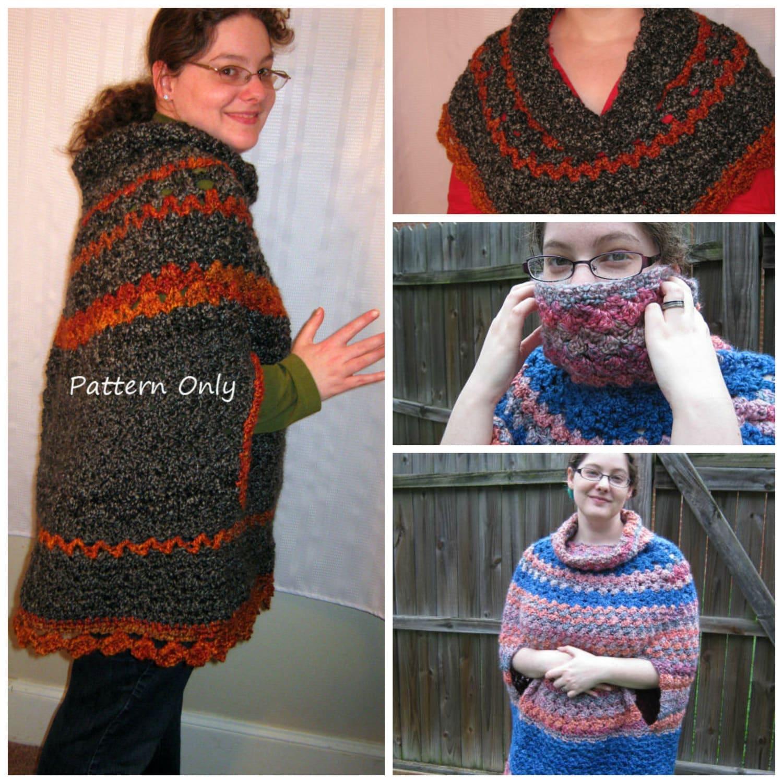 PDF Crochet Pattern Unique Crochet Cowl Poncho with Ponchette