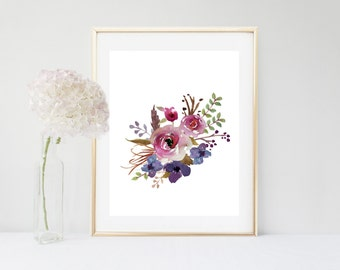 Printable Women Gift, Watercolor, Flower Print, Printable Art, Floral Art Print, Botanical Print ,  Instant Download, Flower Wall Art