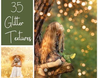 35 Glitter Textures - Glitter Overlays  - Shimmer Textures - Christmas Overlays - Gold Bokeh - Holiday Lights - Shine  - Sparkle Overlays