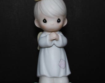 """Precious Moments """"The Lord Is With You"""" - RETIRED 1999 - Boy Angel Stands, Hands Folded In Prayer"""
