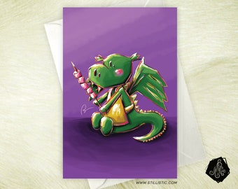 Mothers Day greeting Dragon and marshmallows friendship birthday card