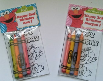 Sets of Personalized Sesame Street Elmo Blue Sesame Street Pink Sesame Birthday Party Favor Bags with mini coloring pages and crayons