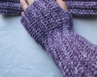 Purple arm warmers, wrist warmers, finger less gloves, tween and teen, women's accessories, crochet and knit