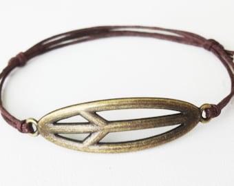 Peace Sign Bracelet or Anklet, Antique Brass Bracelet, Bronze Bracelet, Father's Day Gift, Birthday Gift, Inspirational Jewelry