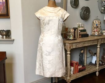 Reserved for Yingjie Yang -----Vintage 60's Ivory Brocade Dress with Seed Pearl Trim Sleeveless