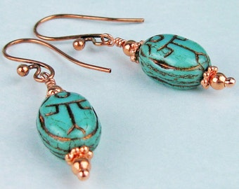 Egyptian Scarab Earrings, Czech Glass, Coppery, Picasso Finish, Copper Beads, Victorian Inspired, Handmade Jewelry, Egyptian Symbolism, Gift