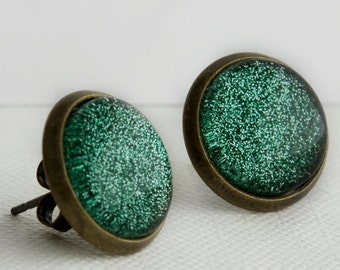 Evergreen Post Earrings in Antique Bronze - Forest Pine Green Glitter Studs