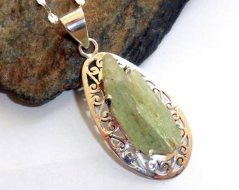 Green Kyanite Sterling Silver Necklace earthegy #153