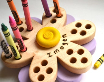 Personalized Flower Crayon Holder - Back To School Gift - by Hill Country Woodcraft