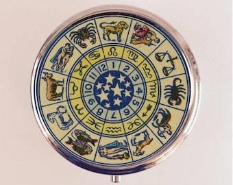 Zodiac Ad Pill Box Case Pillbox Holder Trinket Stash Box Astrology Astrological Occult Blue