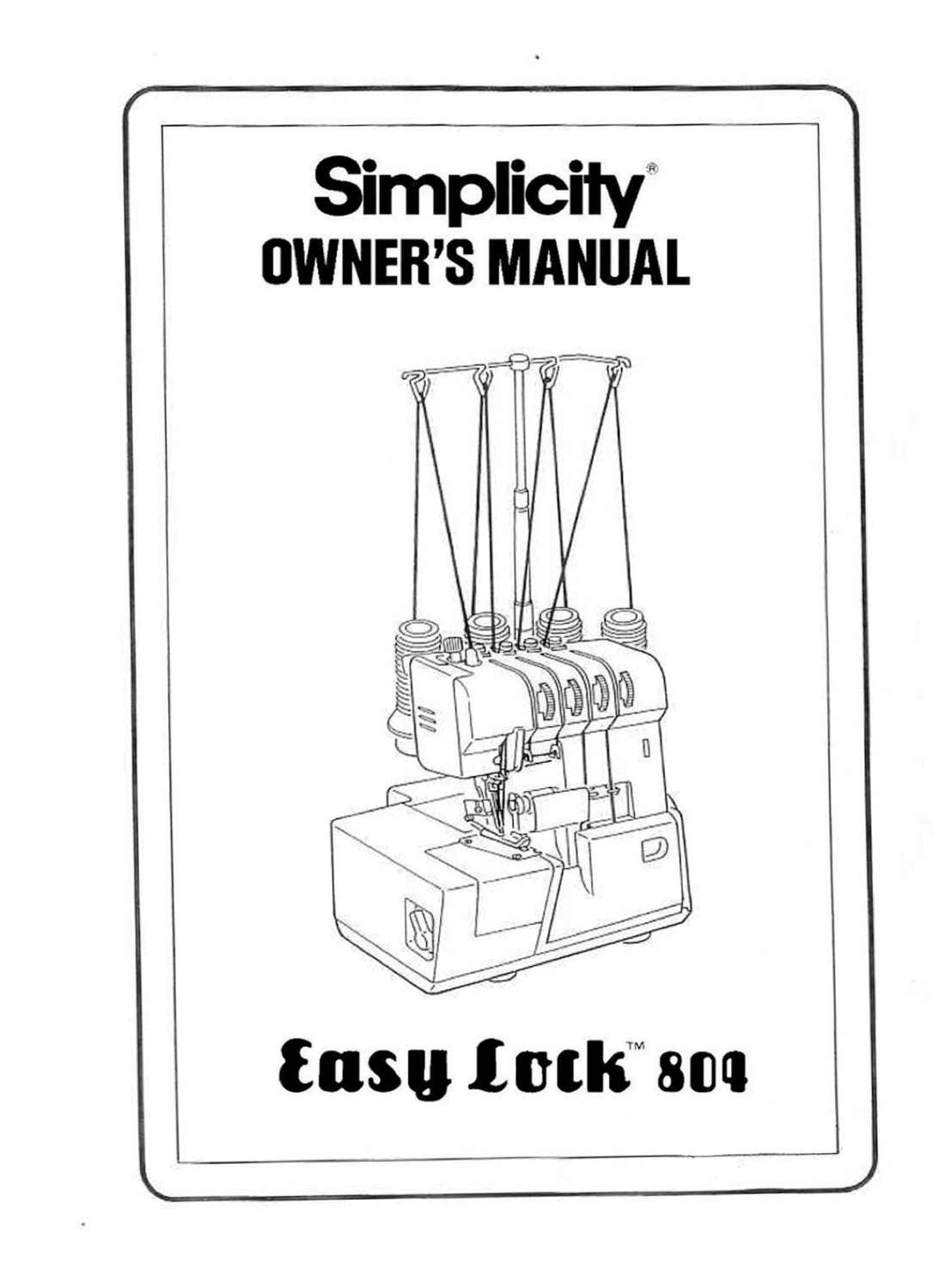 SIMPLICITY Easy Lock 804 Instruction / Operating manual