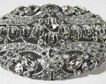 Vintage-Collectible-Jewelry-Silver-Rhinestone-Pin-Brooch-Costume Jewelry-Art Deco-Unique-Women-Gift-Birthday-Birthday Gift-Anniversary-1930s