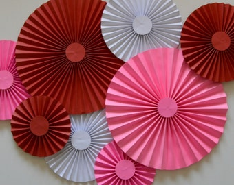 Red, White and Pink Rosettes, Paper Fans, Pinwheels, Party Decorations, Cake Backdrop, Photo Backdrop