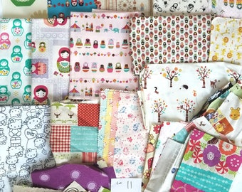 Rare, HTF Girls Japanese Kawaii Fabric DESTASH LOT 11 Kids Quilting Cotton and Linen Scraps and Fat Quarters and Russian Dolls Matroyshka