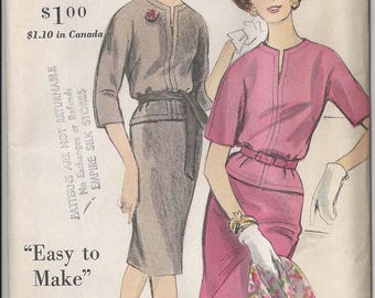 "Vintage Vogue dress Pattern 5167 Easy to Make with topstitching detail Slit Neckline detail Size 16 Bust 36"" Hip 38"" Factory Folds 1960"