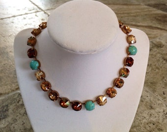 12mm Swarovski crystal necklace -BROWN & turquoise- holiday gift- supporting cancer awareness- bracelet and earrings available-