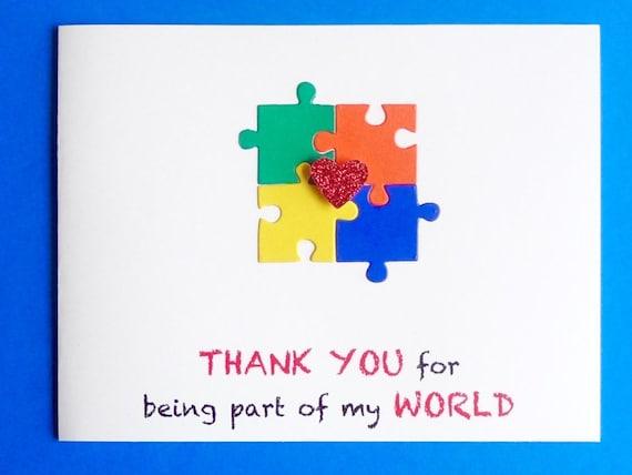 Unique Autism Thank You Card Autism Awareness Puzzle Piece Card ZF51
