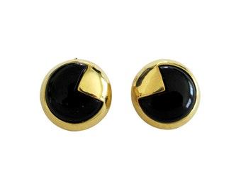 Vintage Kenneth Lane Gold Tone & Black Lucite Earring Clips