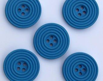 6 x wood Spiral 25 mm buttons: Blue - 02276