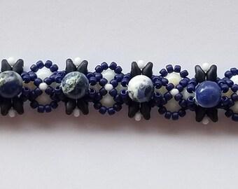 Sodalite Beaded Bracelet – Handmade – Beadwoven Bracelet - Beaded Bracelets for Women