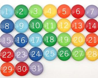 31 Gorgeous Rainbow Calendar Number Glass Magnets