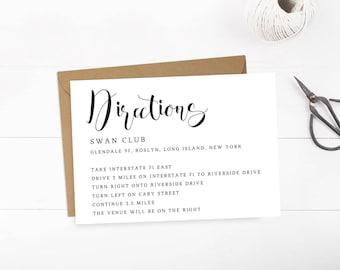 Modern Wedding Direction Card for Wedding Enclosure Cards Direction Cards Wedding Printable Cards Wedding Insert Card Wedding Template PDF
