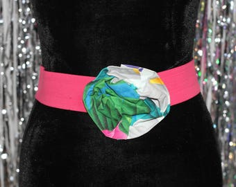 80's Pink Stretch Belt with Multi Color Floral Buckle