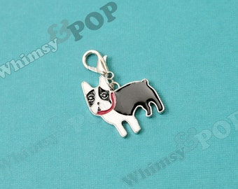 1 - Boston Terrier Dog Enamel Charm, Dog Charm, Boston Terrier Charm, 25mm (5-6E)