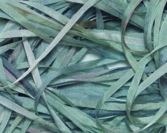 Light Seafoam Green Hand Dyed Silk RIbbon
