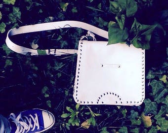 Leather Messenger Bag, Cross Over Bag, Eyeleted Leather Bag, Sumer Bag, Leather Bag, full grain white leather bag