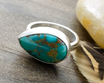 Turquoise Ring. Teardrop Ring. Turquoise Gemstone Ring. Royston Turquoise. December Birthstone. BirthstoneJewelry. Size 7 Ring