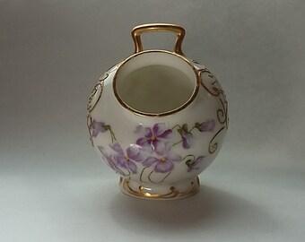 Antique Limoges France Tressemann and Vogt (T&V) Artist Signed Wild Violets Open Sugar Bowl