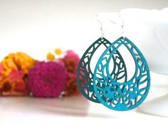 laser cut earrings, wooden earrings, laser cut wooden earrings, peacock blue earrings, teardrop earrings, ten dollar gift, summer earrings